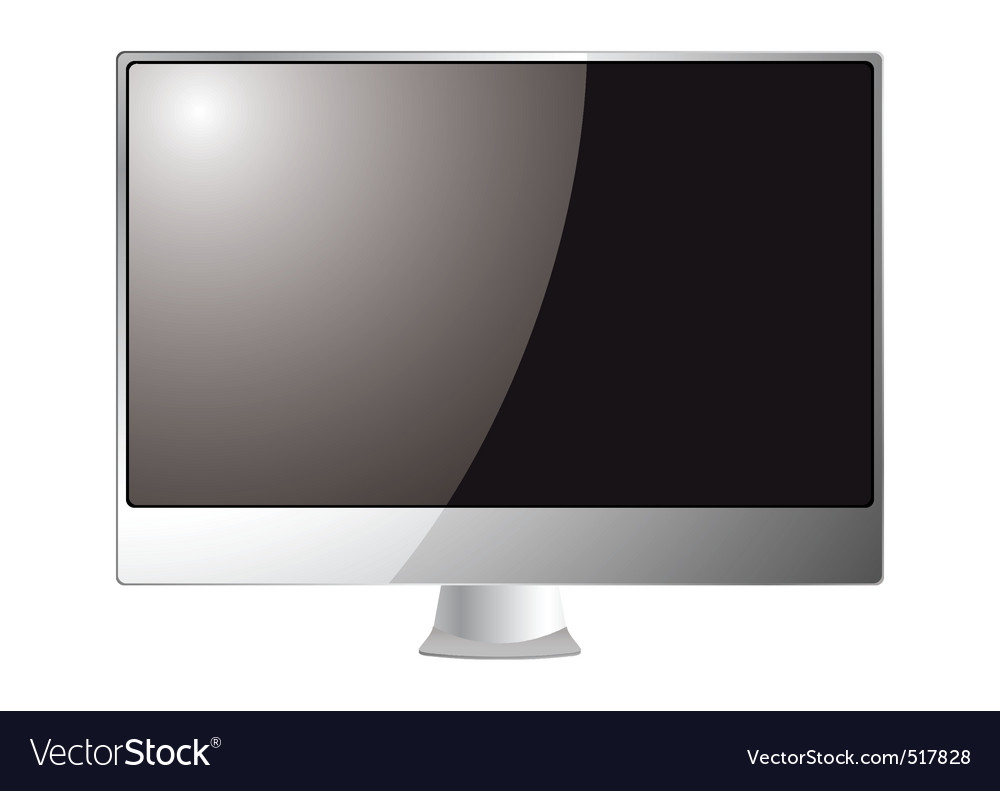 Silver computer monitor vector | Price: 1 Credit (USD $1)
