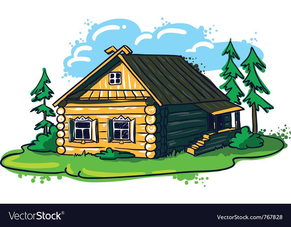 Sketchy hand-drawn house russian hut vector | Price: 3 Credit (USD $3)