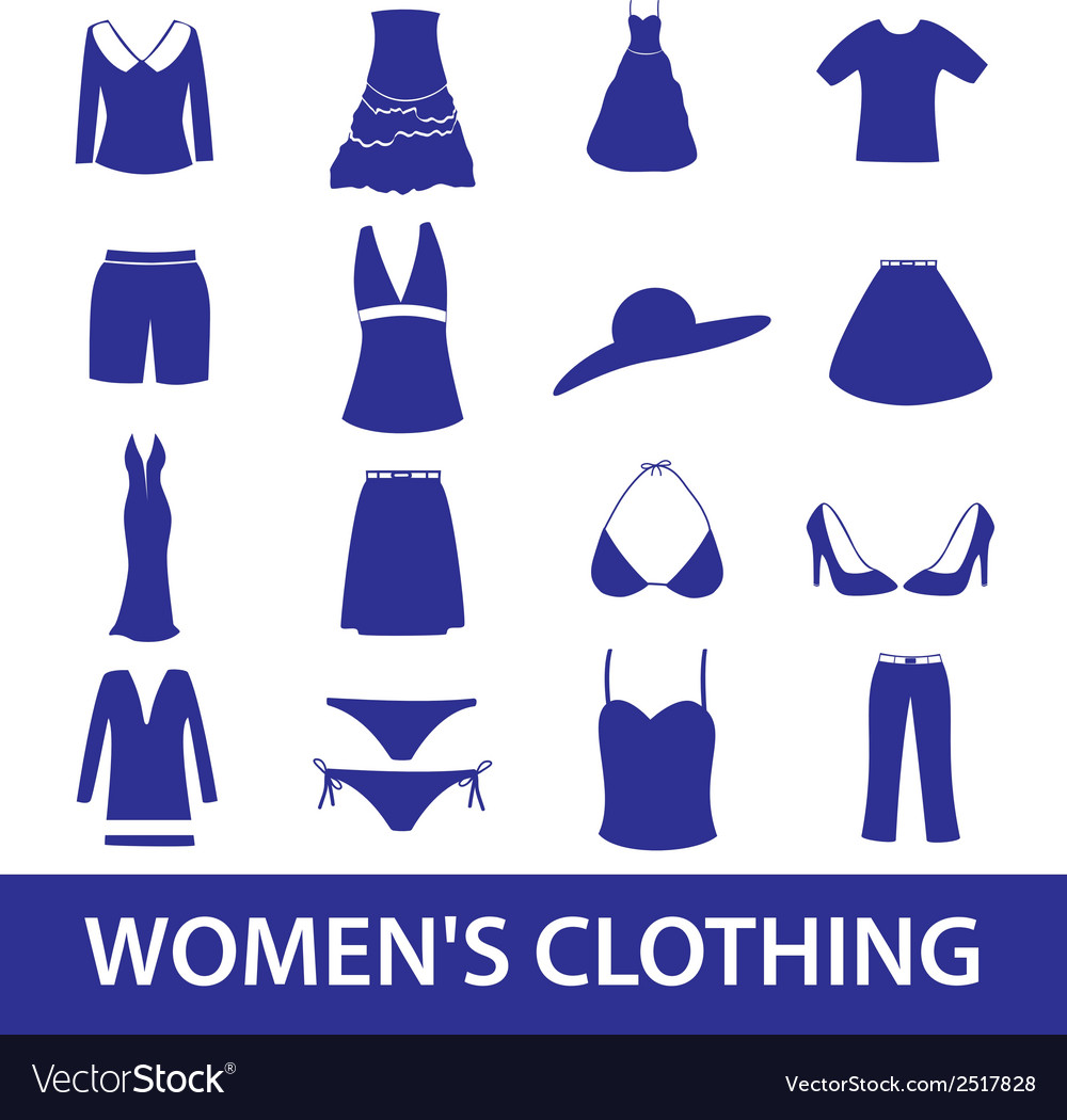Womens clothing icon set eps10 vector | Price: 1 Credit (USD $1)