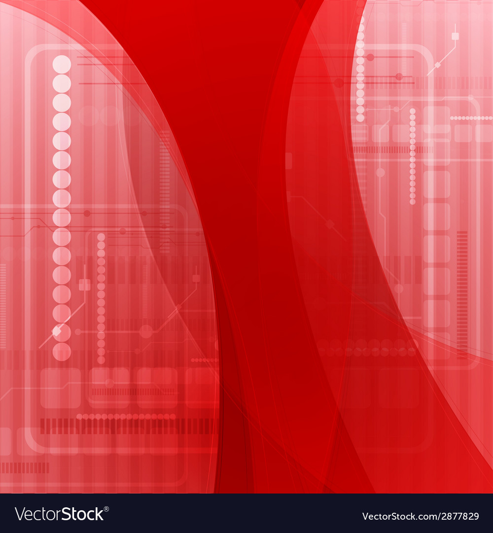 Abstract red wavy tech background vector | Price: 1 Credit (USD $1)