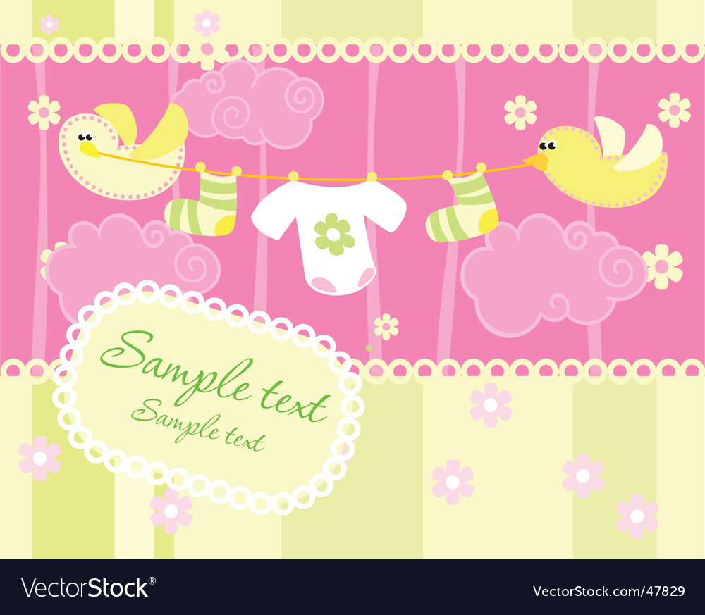 Baby arrival announcement card vector | Price: 1 Credit (USD $1)