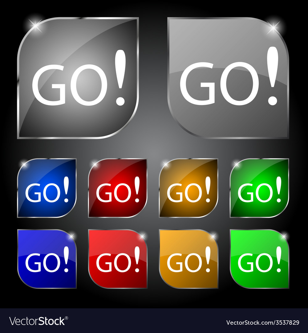 Go sign icon set of colored buttons vector | Price: 1 Credit (USD $1)