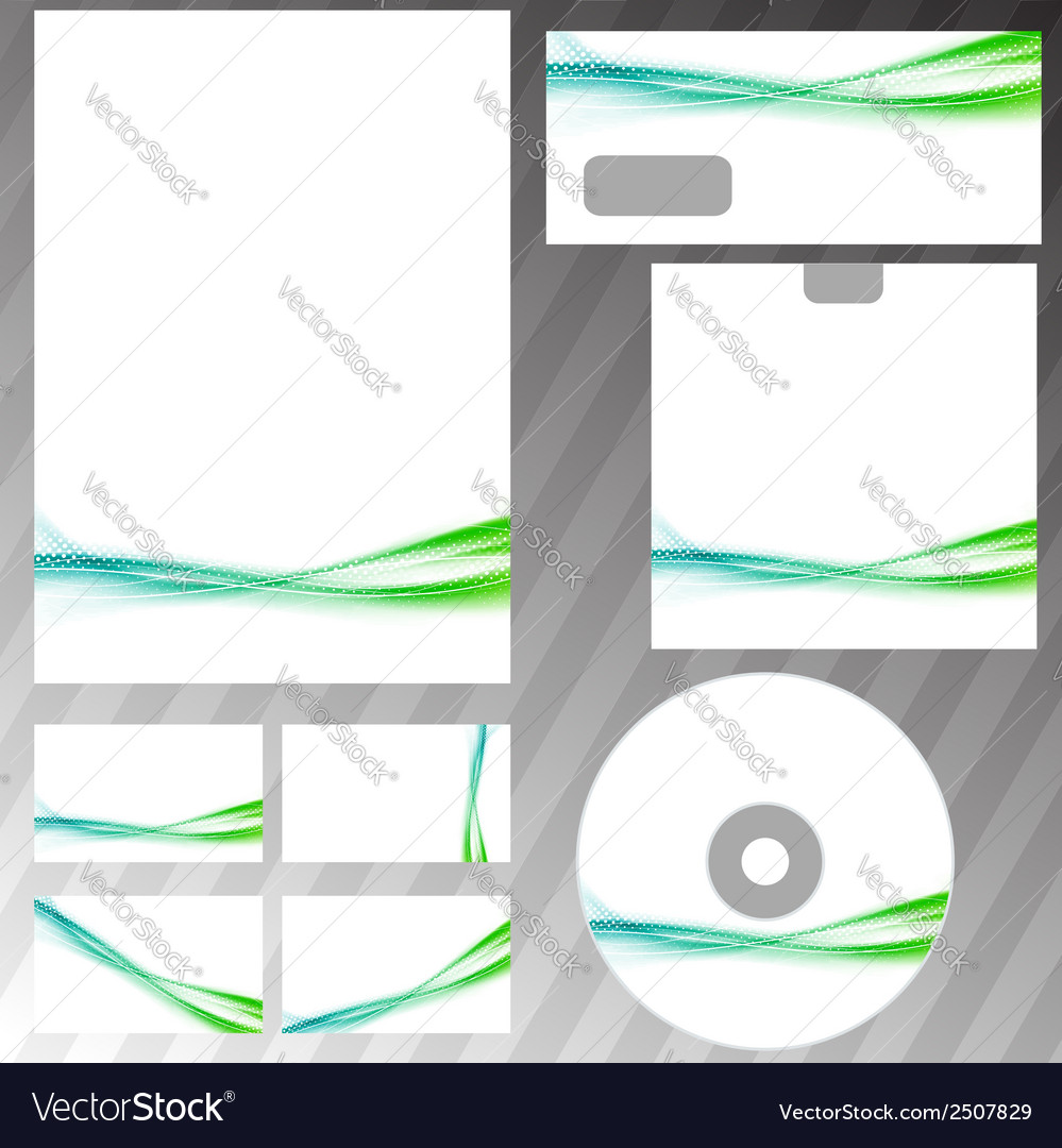 Green swoosh liquid wave stationery set template vector | Price: 1 Credit (USD $1)