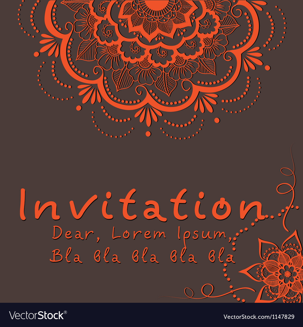 Indian wedding invitation vector | Price: 1 Credit (USD $1)