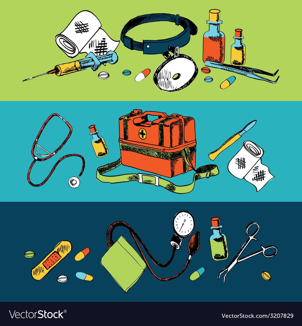 Medicine sketch icons color set vector | Price: 1 Credit (USD $1)