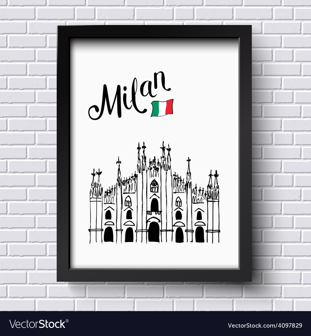Patriotic or travel poster design for milan vector | Price: 1 Credit (USD $1)