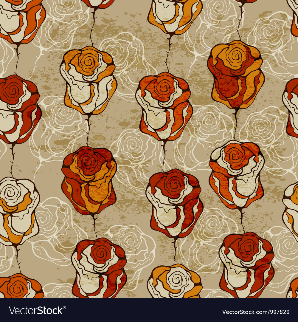 Seamless pattern with funky roses vector | Price: 1 Credit (USD $1)