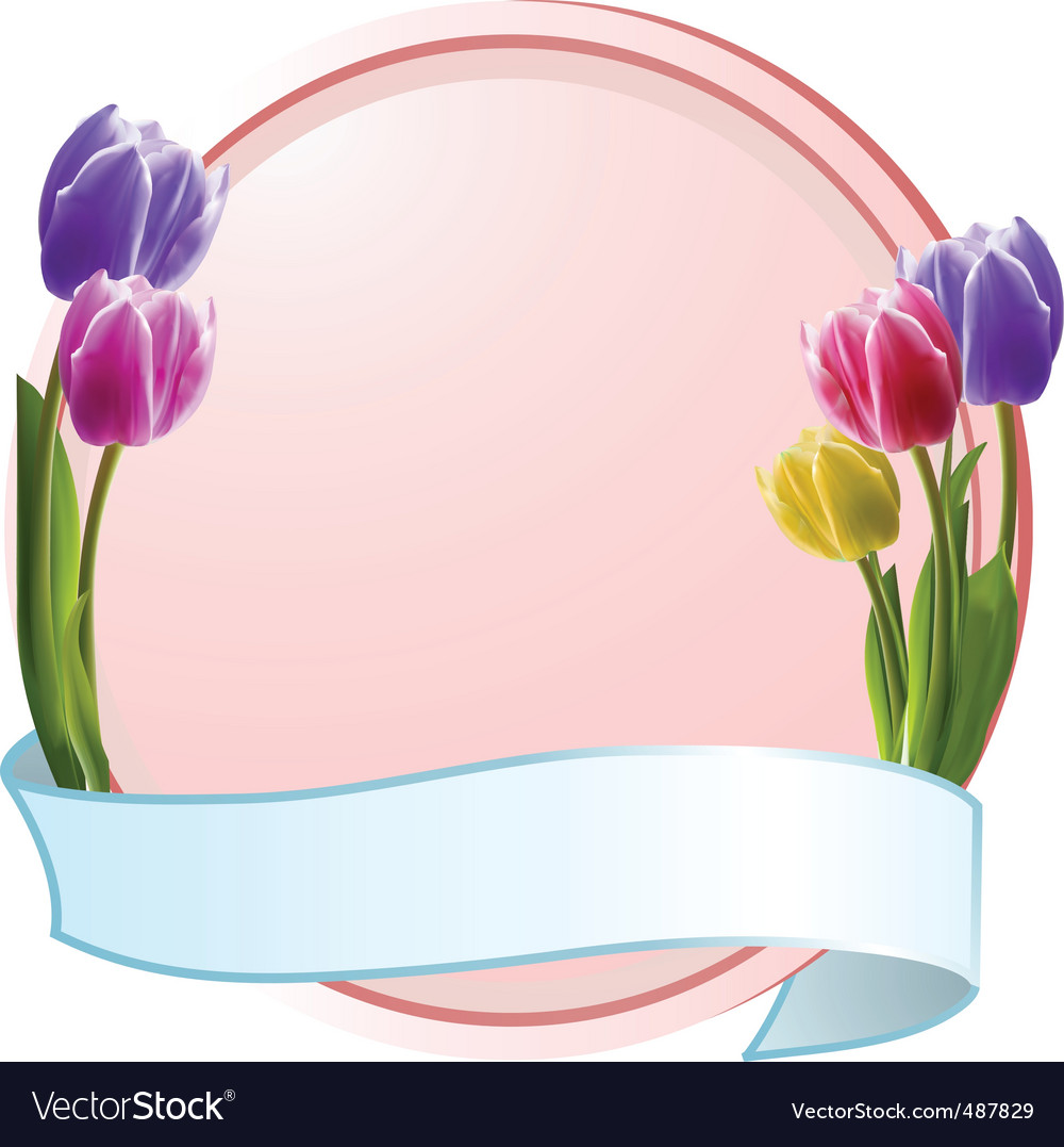 Tulips on border with banner vector | Price: 1 Credit (USD $1)