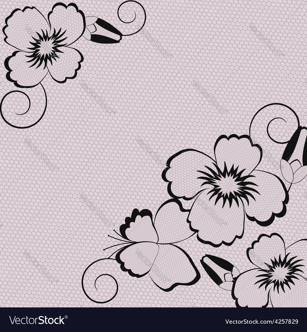 Vintage abstract background with black lace vector | Price: 1 Credit (USD $1)