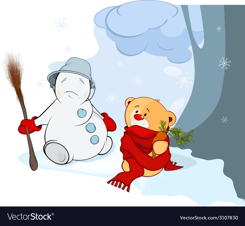 A stuffed toy bear cub and a christmas snowball vector | Price: 1 Credit (USD $1)