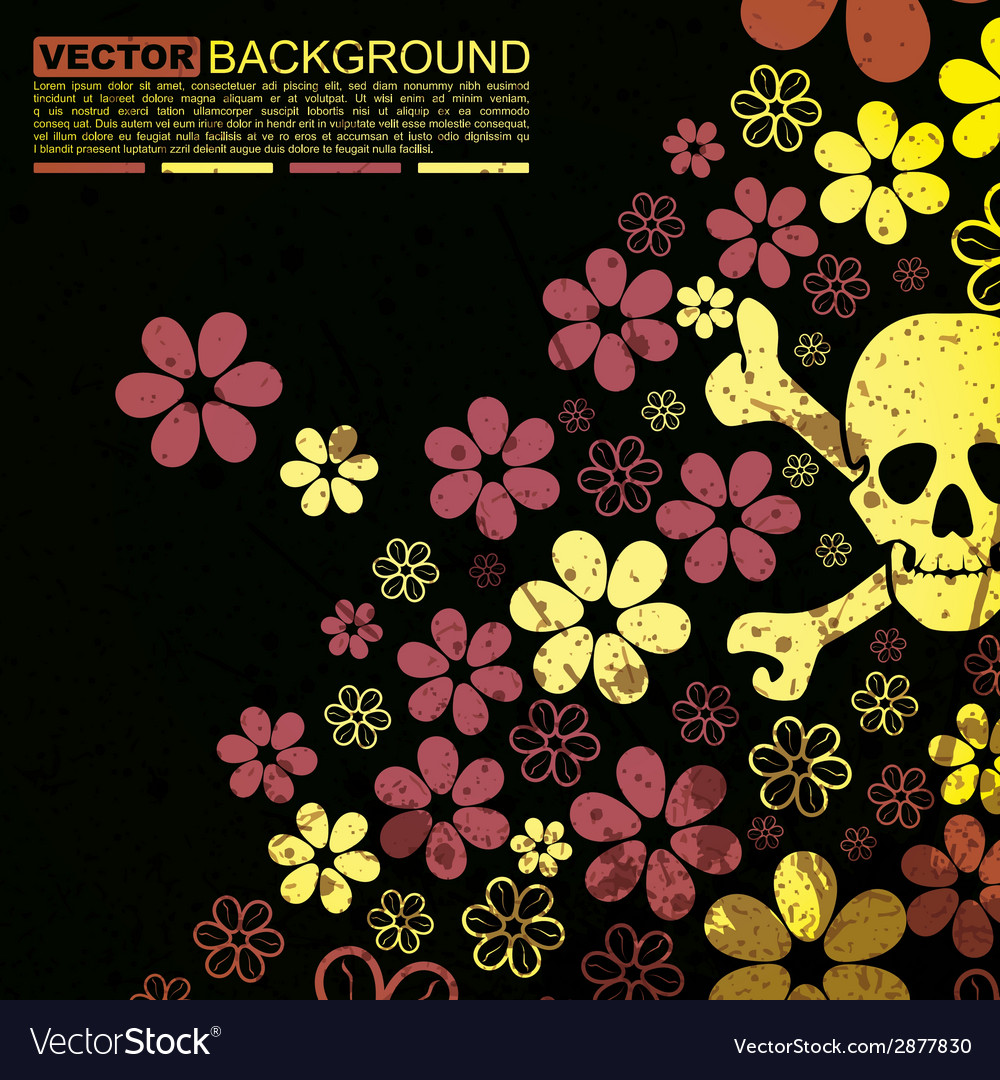Abstract skull and flowers grunge background desig vector | Price: 1 Credit (USD $1)