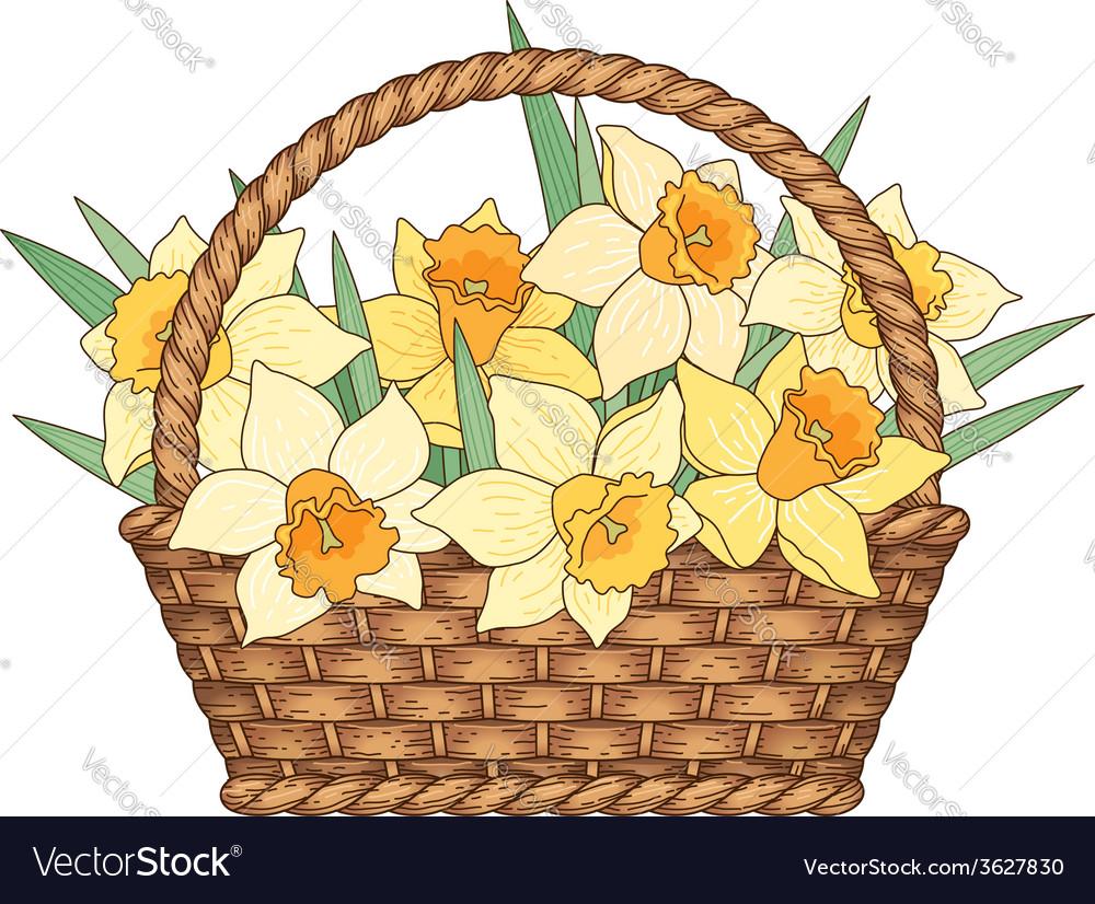 Basket flowers vector | Price: 1 Credit (USD $1)