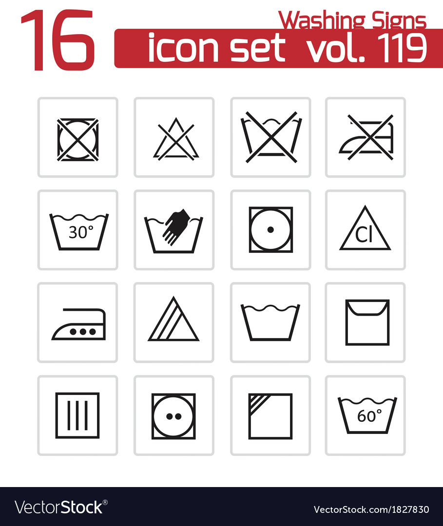 Black washing icons set vector | Price: 1 Credit (USD $1)