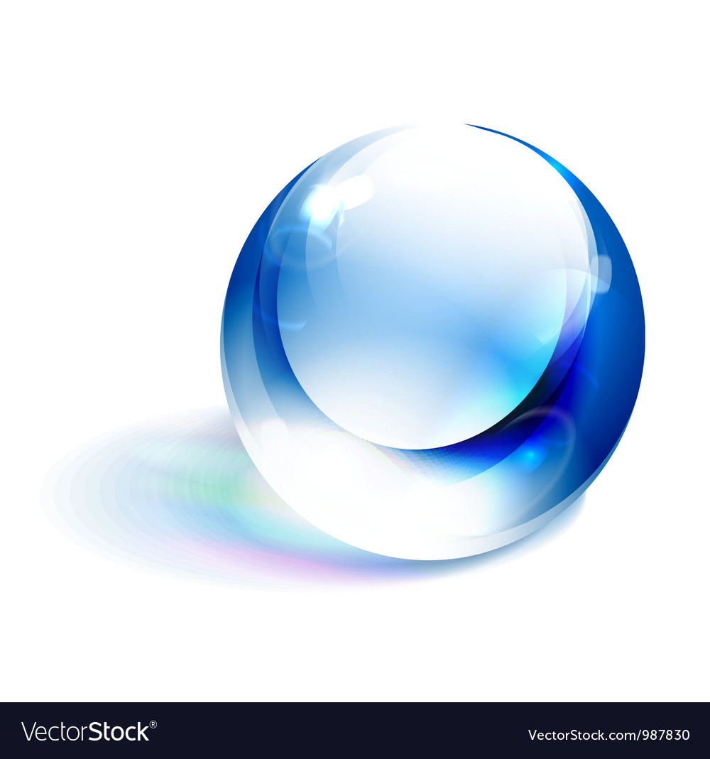 Blue shiny sphere vector