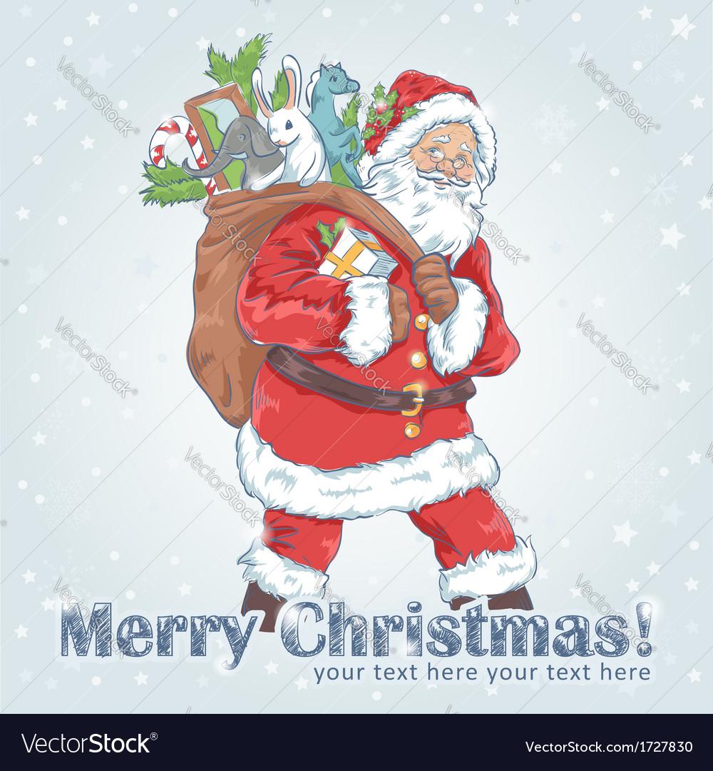 Christmas santa claus vintage postcard vector