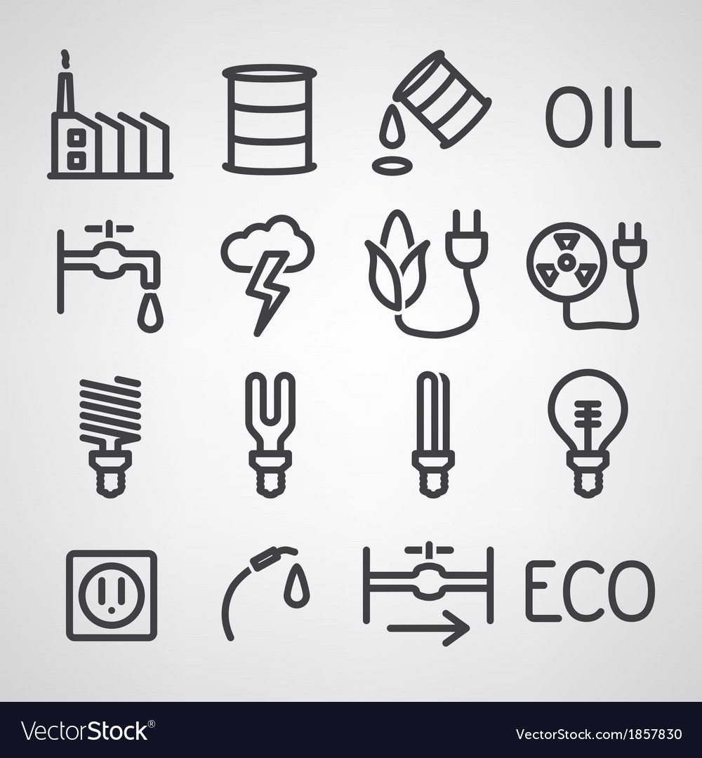 Energy and resource icon set vector   Price: 1 Credit (USD $1)