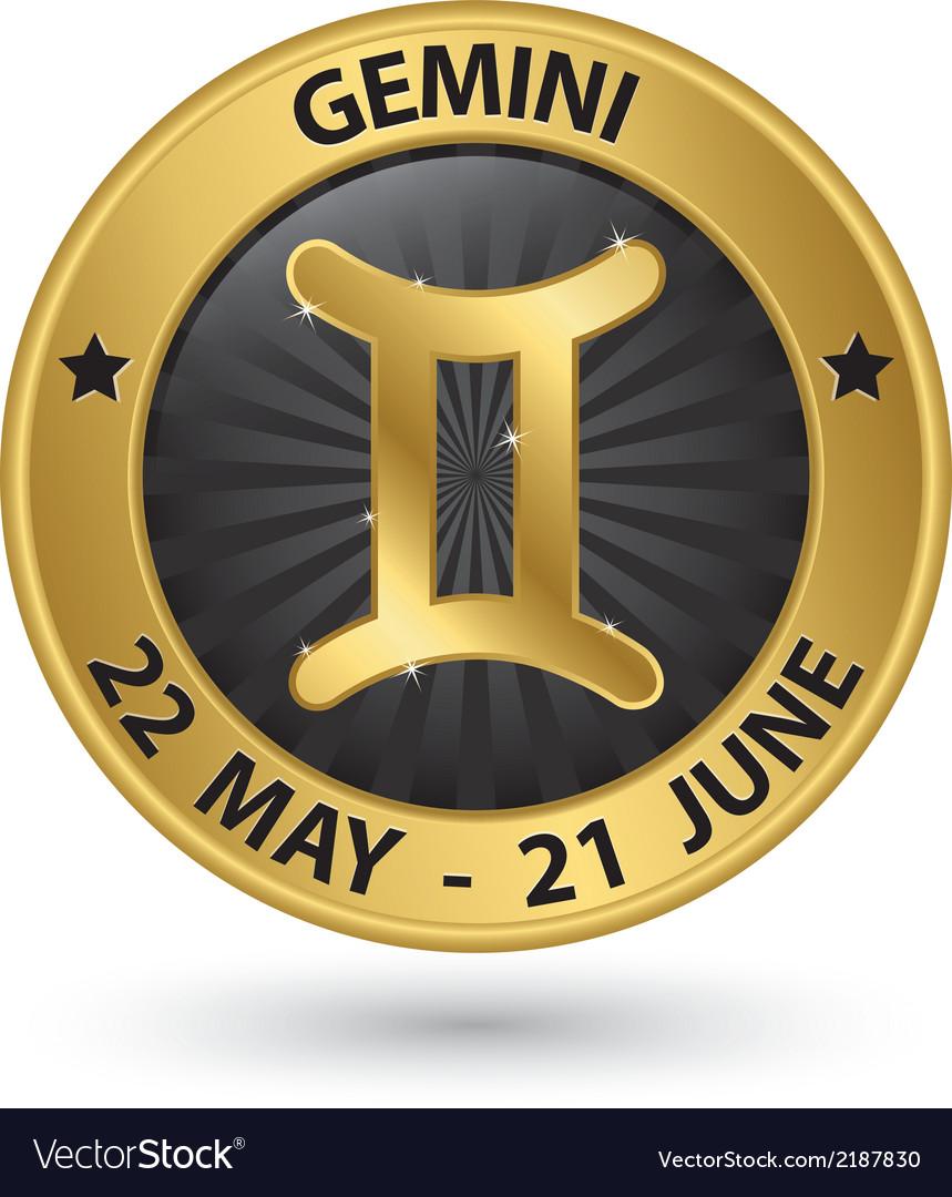 Gemini zodiac gold sign gemini symbol vector | Price: 1 Credit (USD $1)
