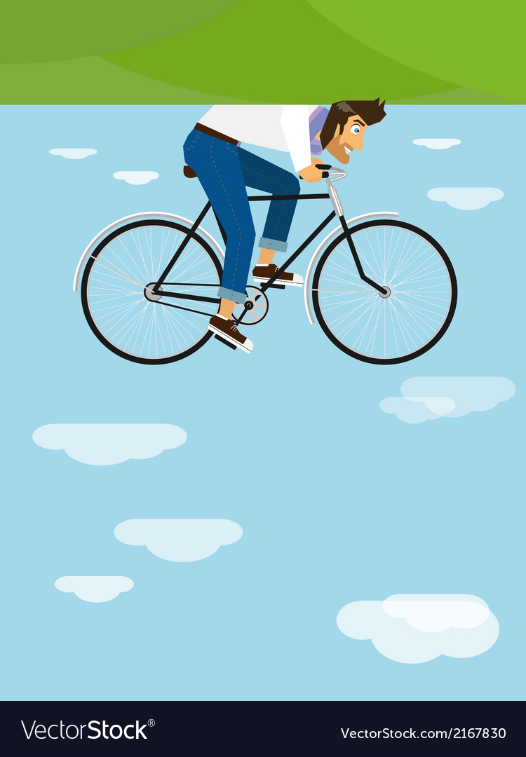 Hipster rides a bicycle in the sky vector | Price: 1 Credit (USD $1)
