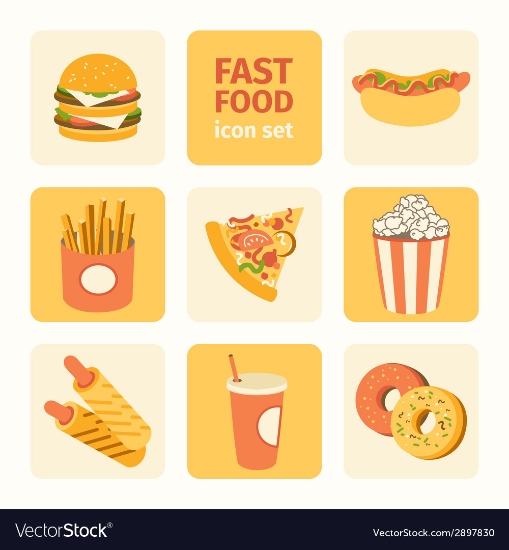 Icon set fast food vector | Price: 1 Credit (USD $1)