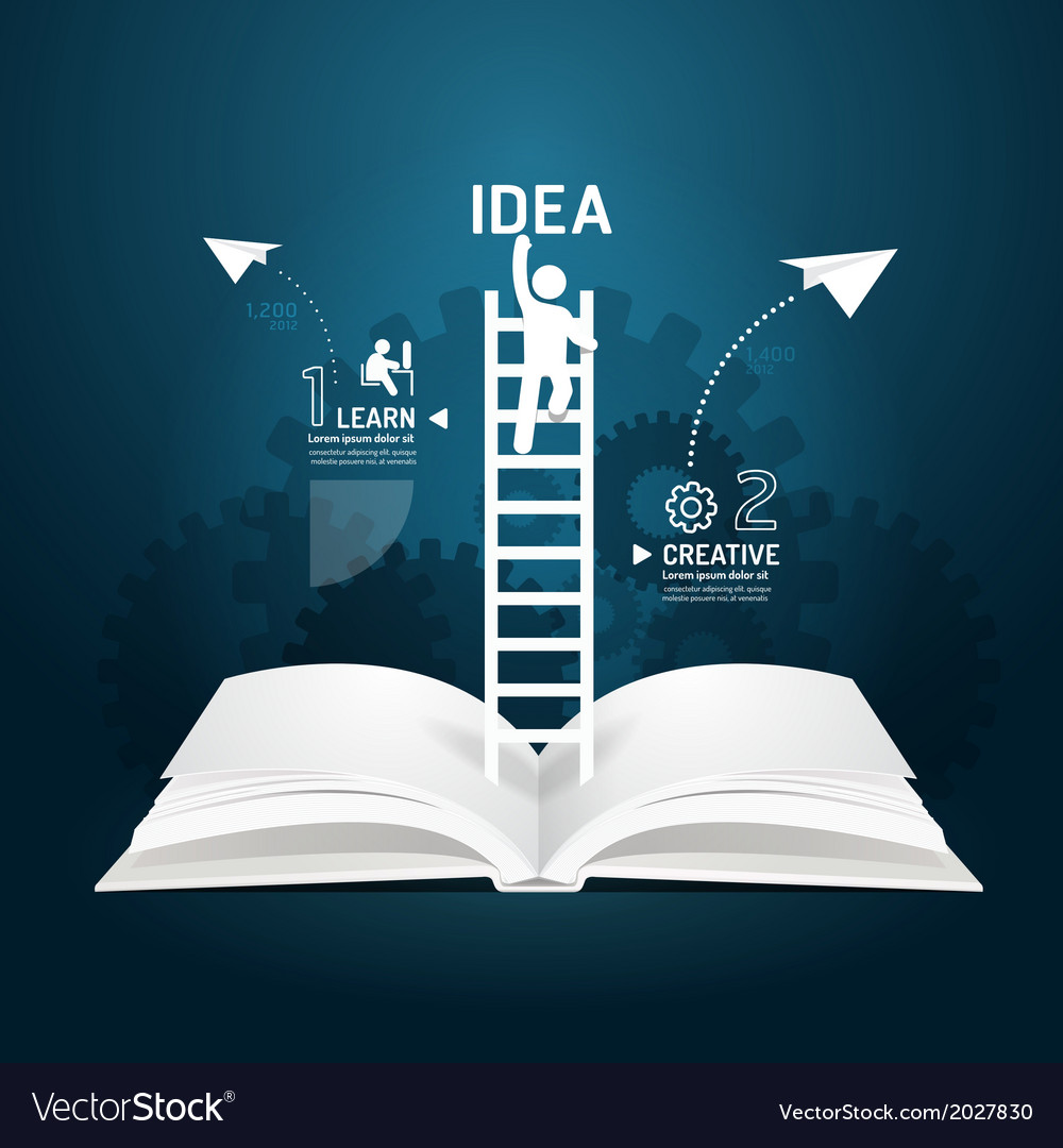 Infographic climbing ladder book diagram vector | Price: 1 Credit (USD $1)
