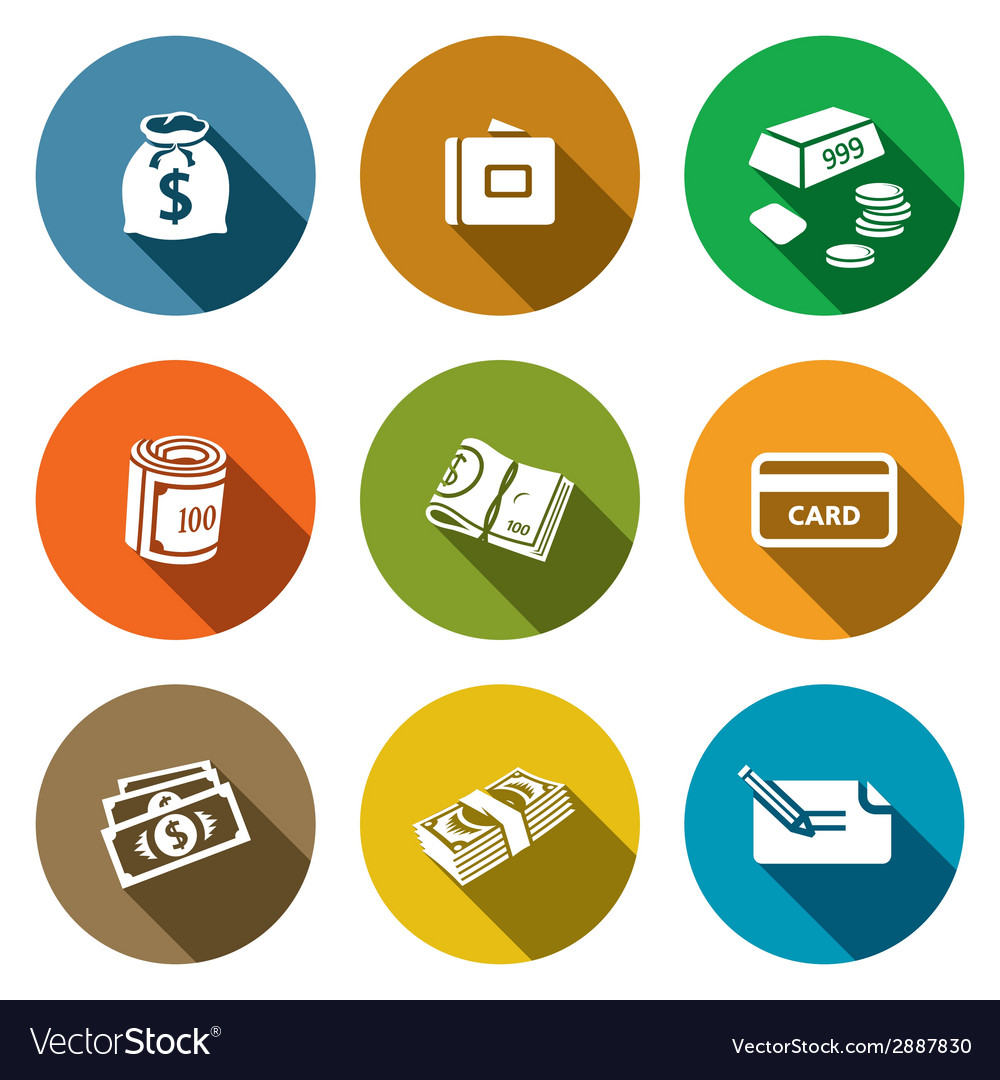 Money icon collection vector | Price: 1 Credit (USD $1)