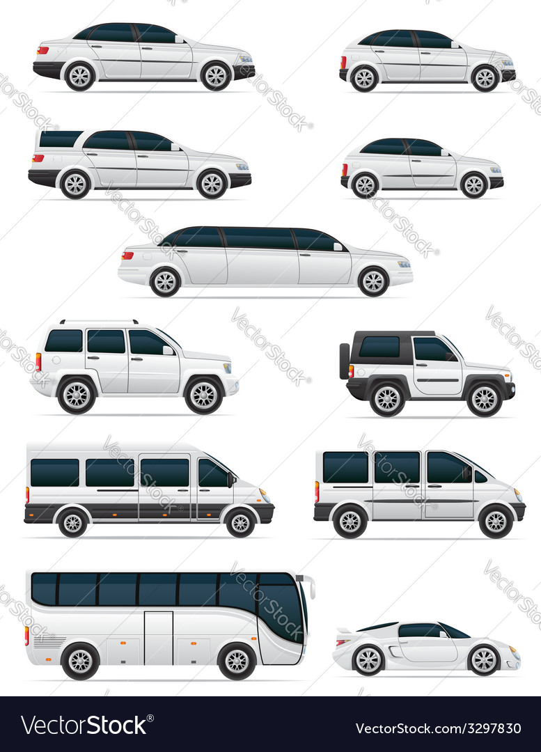 Set of cars for the transportation of passengers vector | Price: 3 Credit (USD $3)