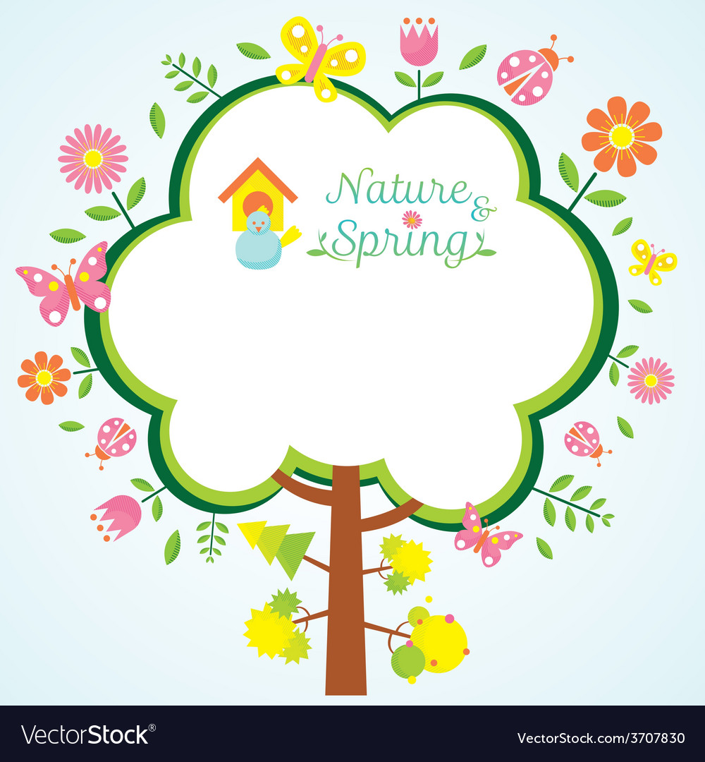 Spring season icons with tree frame shape vector | Price: 1 Credit (USD $1)
