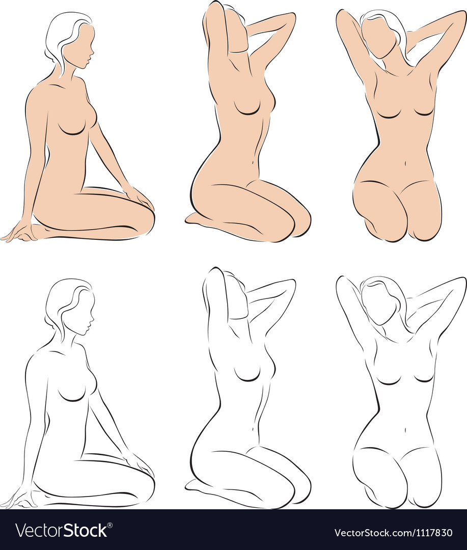 Stylized figures of nude women vector | Price: 3 Credit (USD $3)