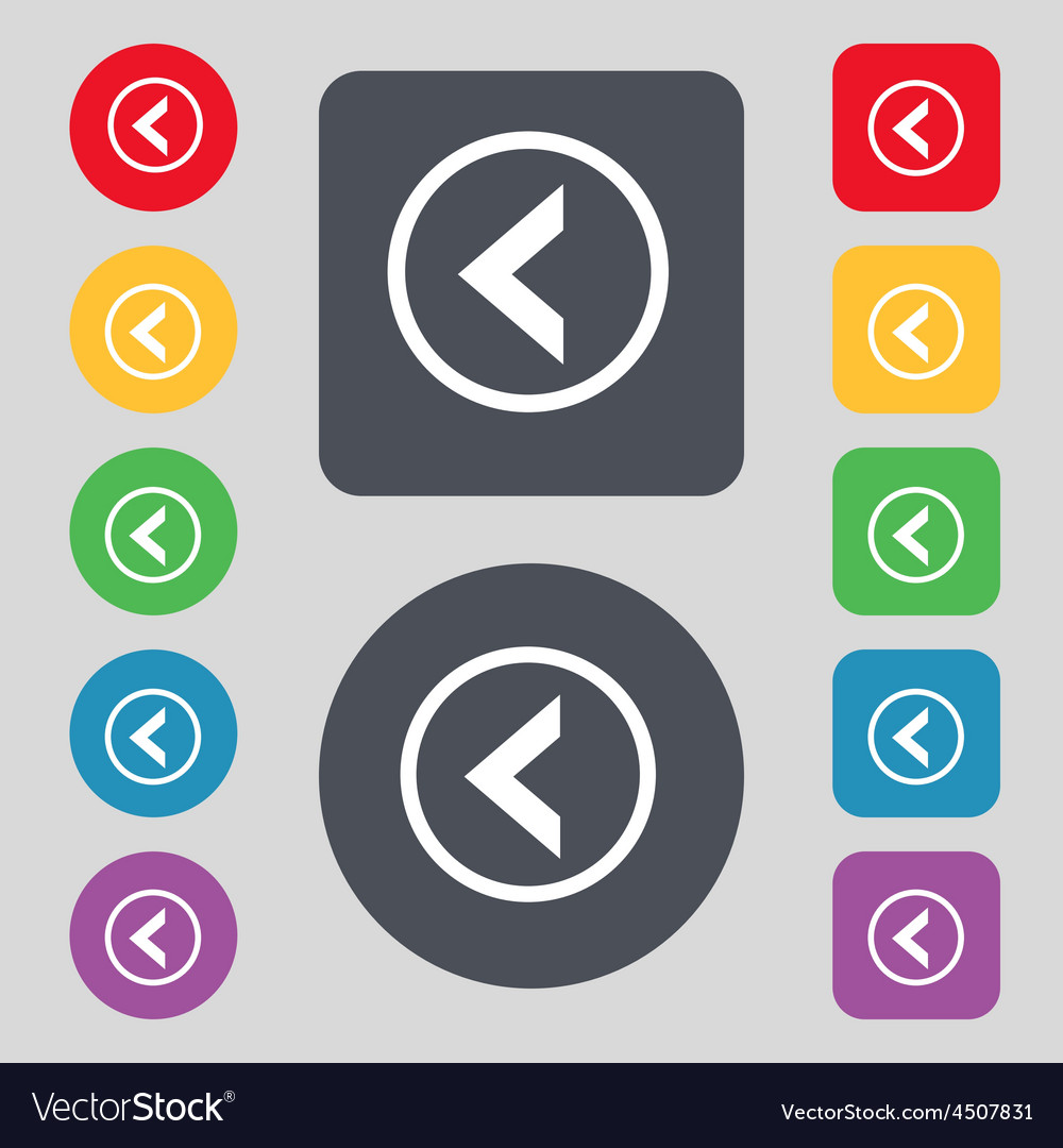 Arrow left way out icon sign a set of 12 colored vector | Price: 1 Credit (USD $1)