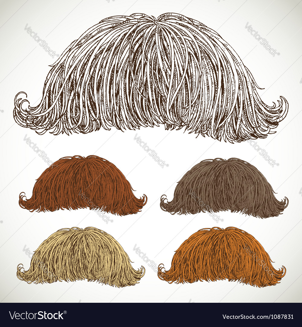 Classic retro lush mustache set vector | Price: 1 Credit (USD $1)
