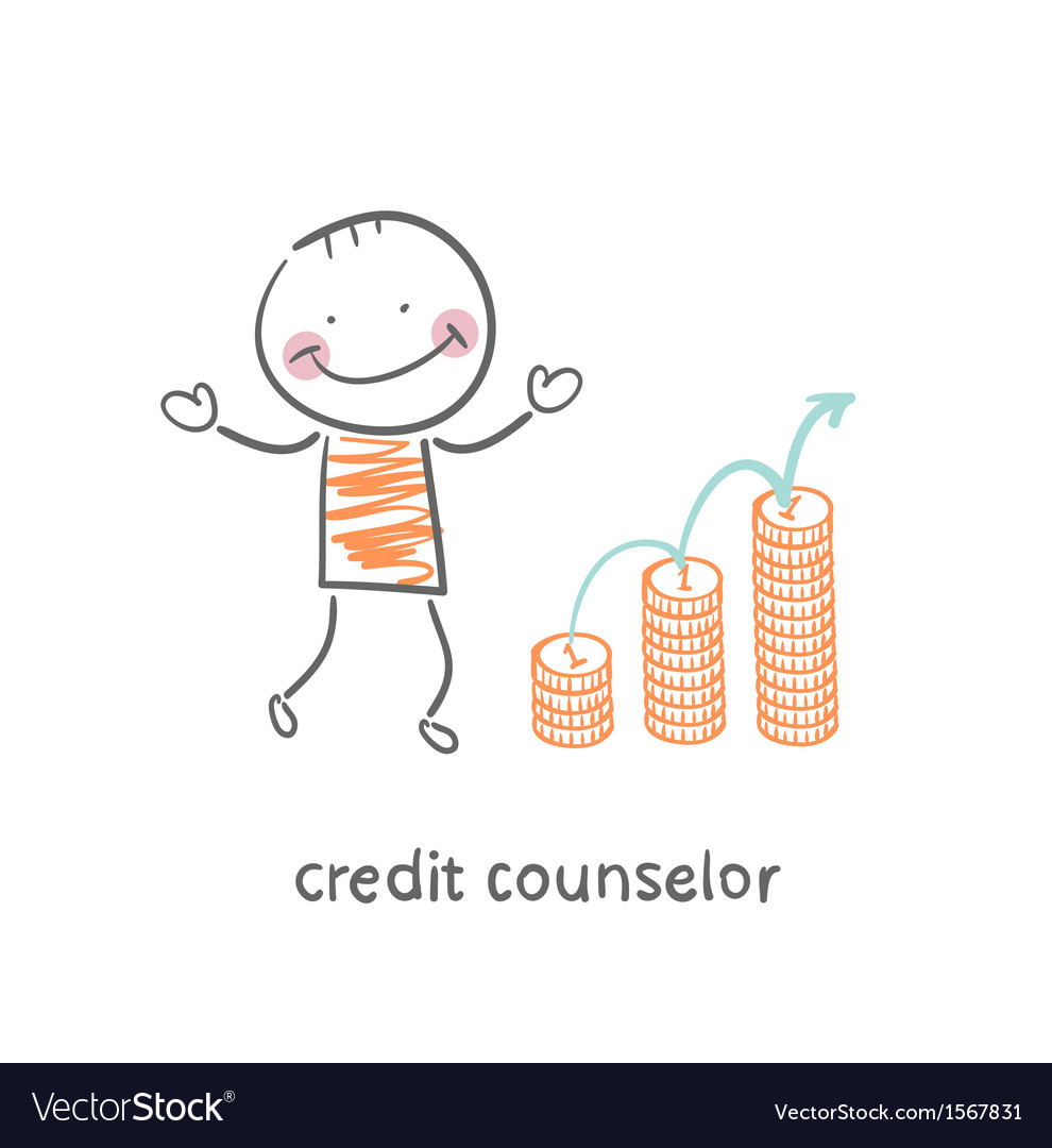 Credit counselor next to the graph from coins vector | Price: 1 Credit (USD $1)