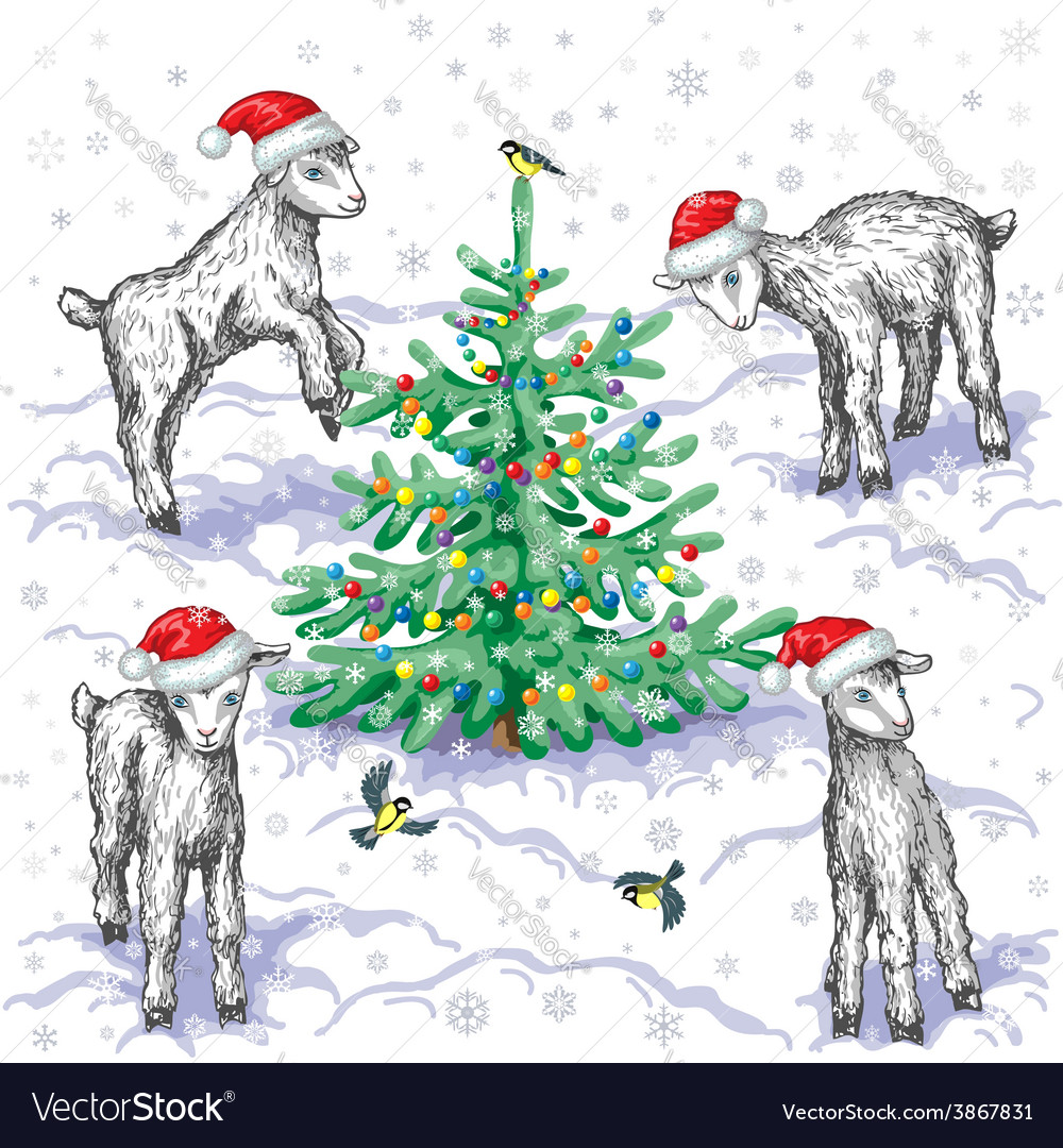 Goats in winter vector | Price: 1 Credit (USD $1)