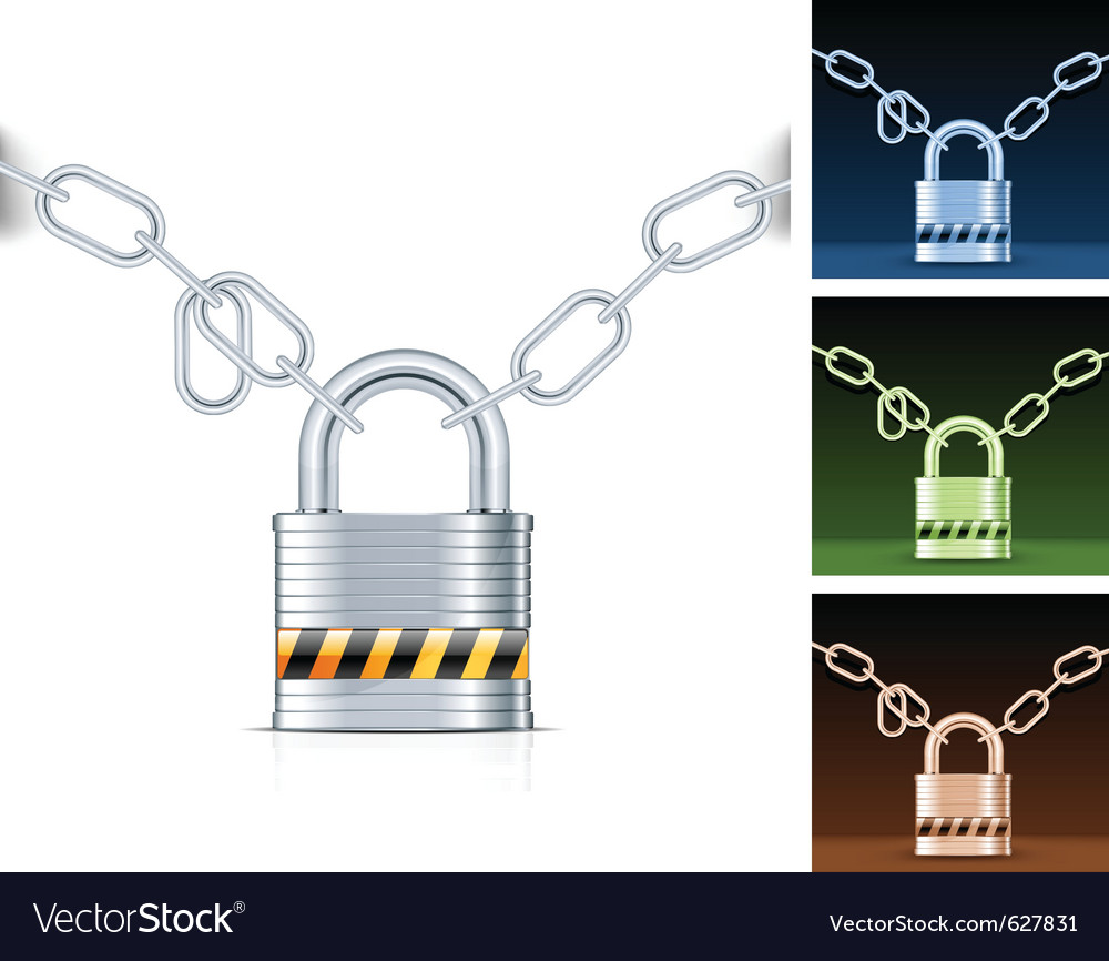 Metal chain and padlock isolated on white vector | Price: 1 Credit (USD $1)