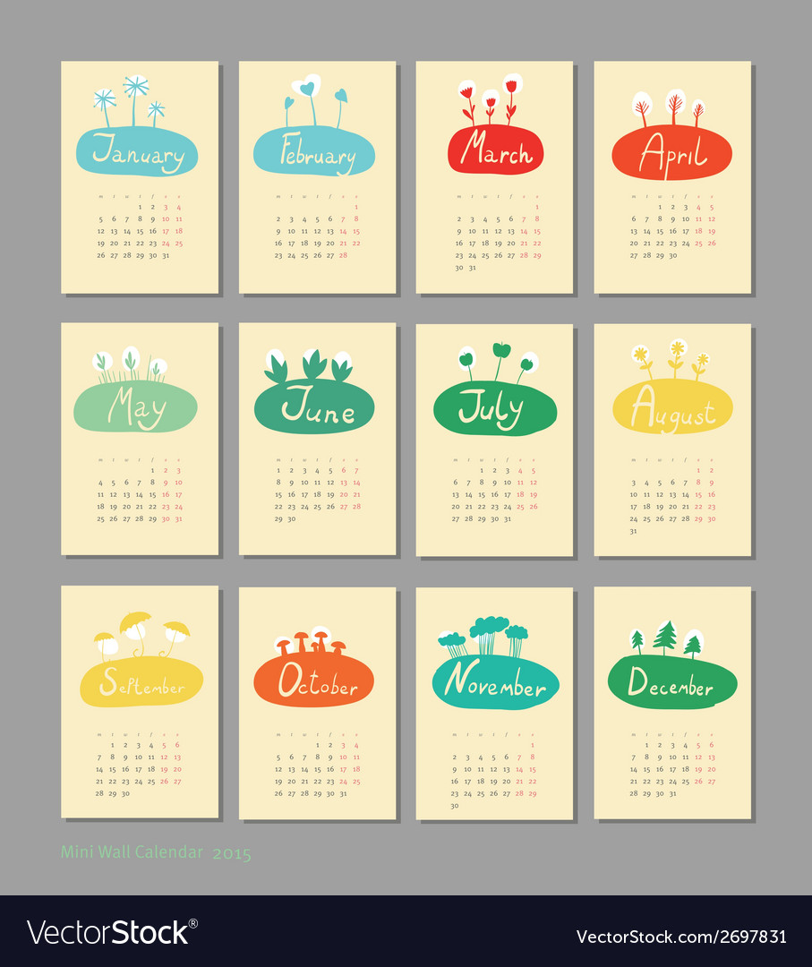 Mini cute calendar 2015 seasons vector | Price: 1 Credit (USD $1)
