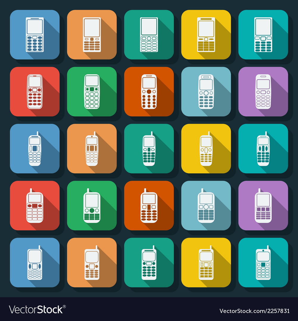 Phones icons collection vector | Price: 1 Credit (USD $1)