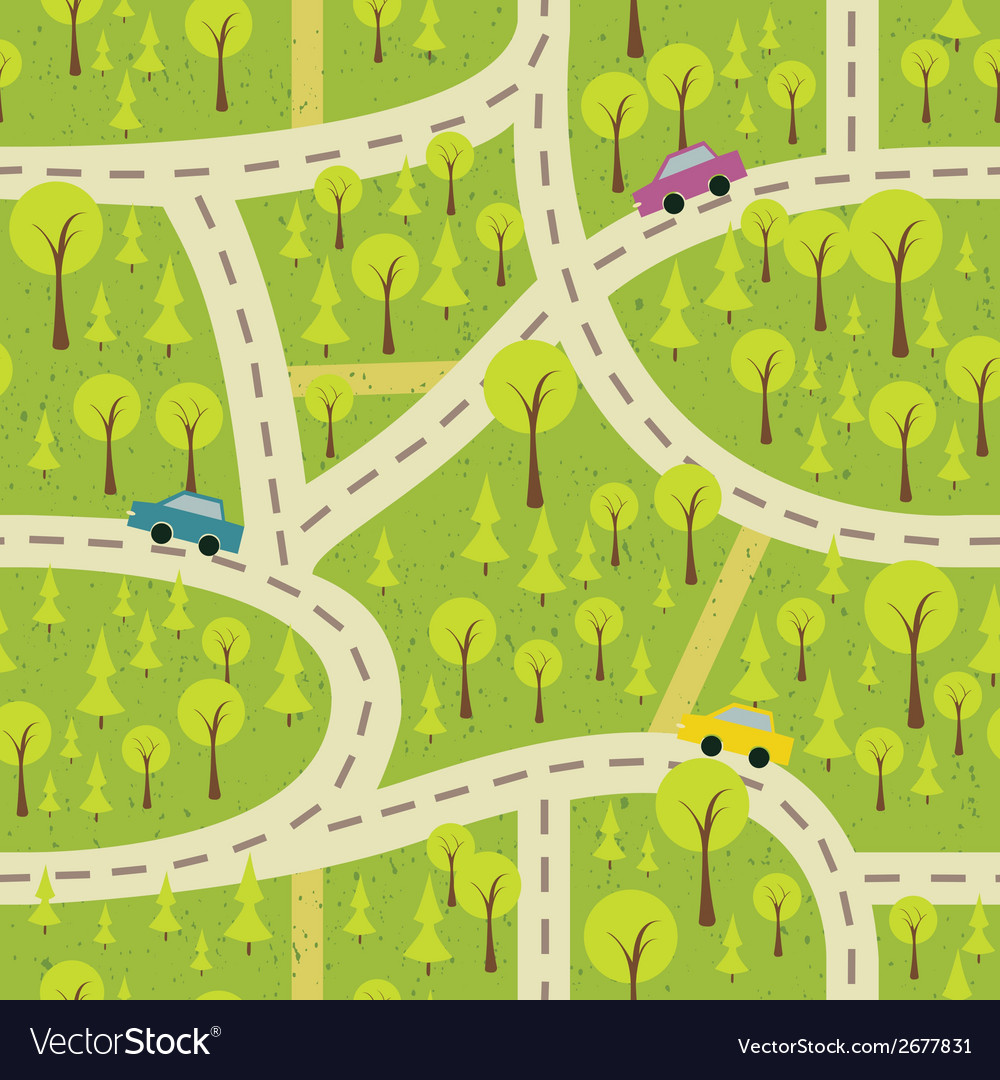 Seamless pattern with the wood and roads vector | Price: 1 Credit (USD $1)