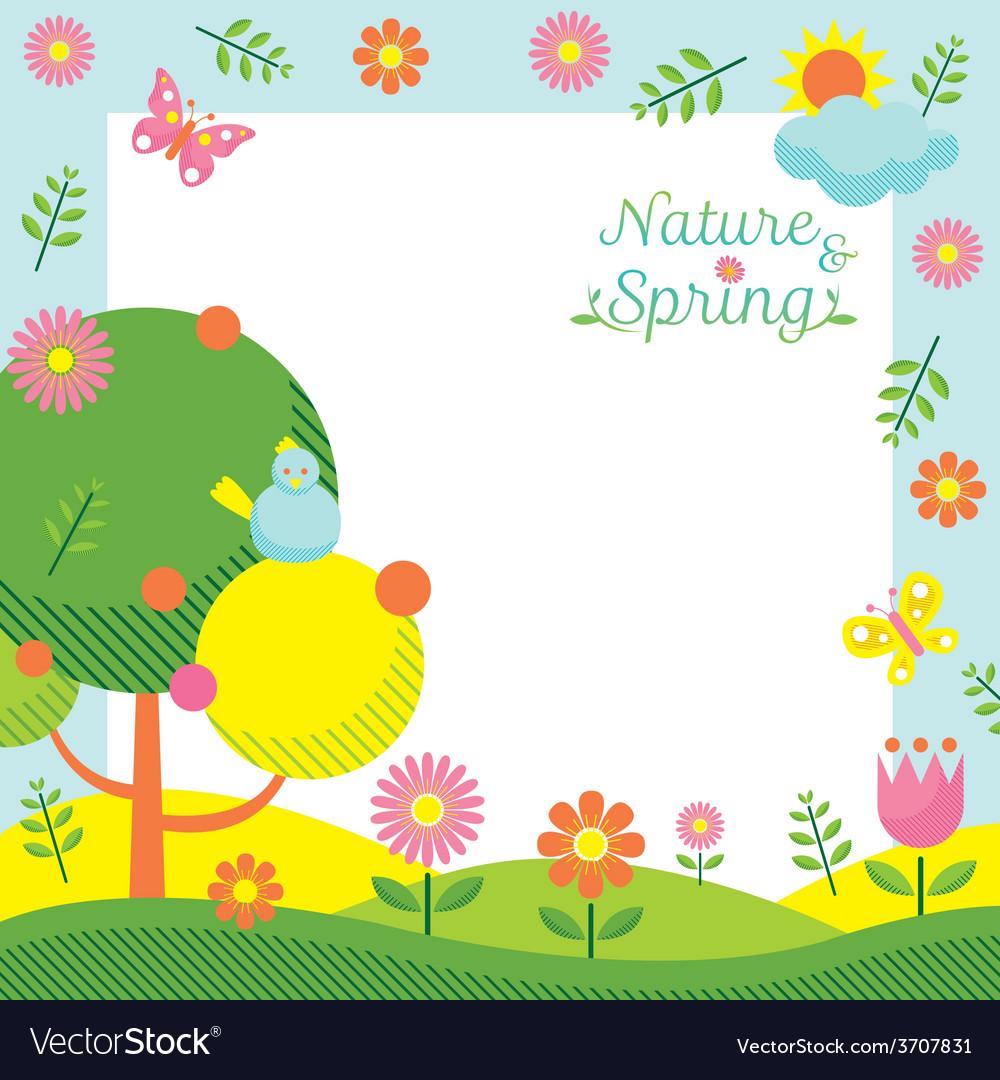 Spring season icons frame vector | Price: 1 Credit (USD $1)