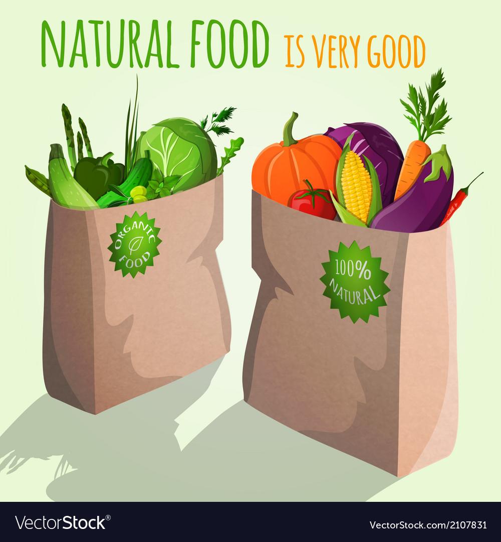 Vegetables in bags emblem vector | Price: 1 Credit (USD $1)
