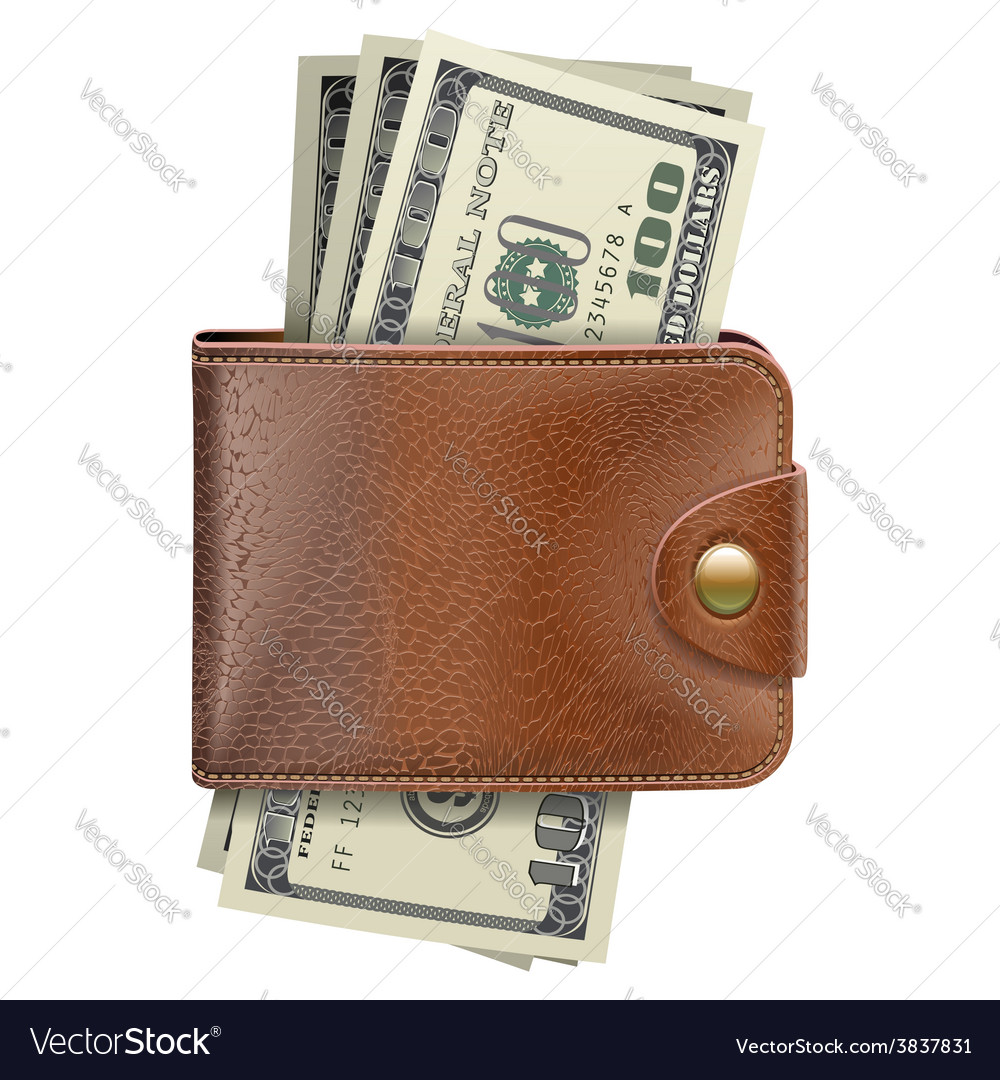 Wallet with money vector | Price: 3 Credit (USD $3)