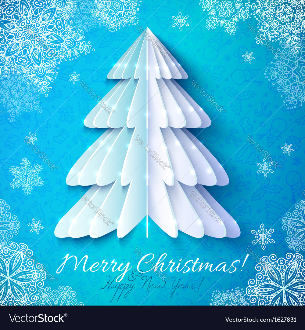 White origami paper christmas tree vector   Price: 1 Credit (USD $1)