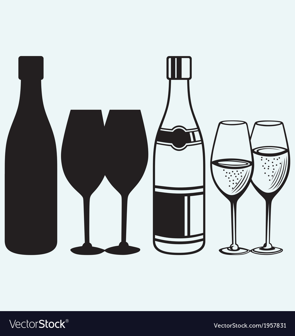 Wineglasses and bottles vector | Price: 1 Credit (USD $1)