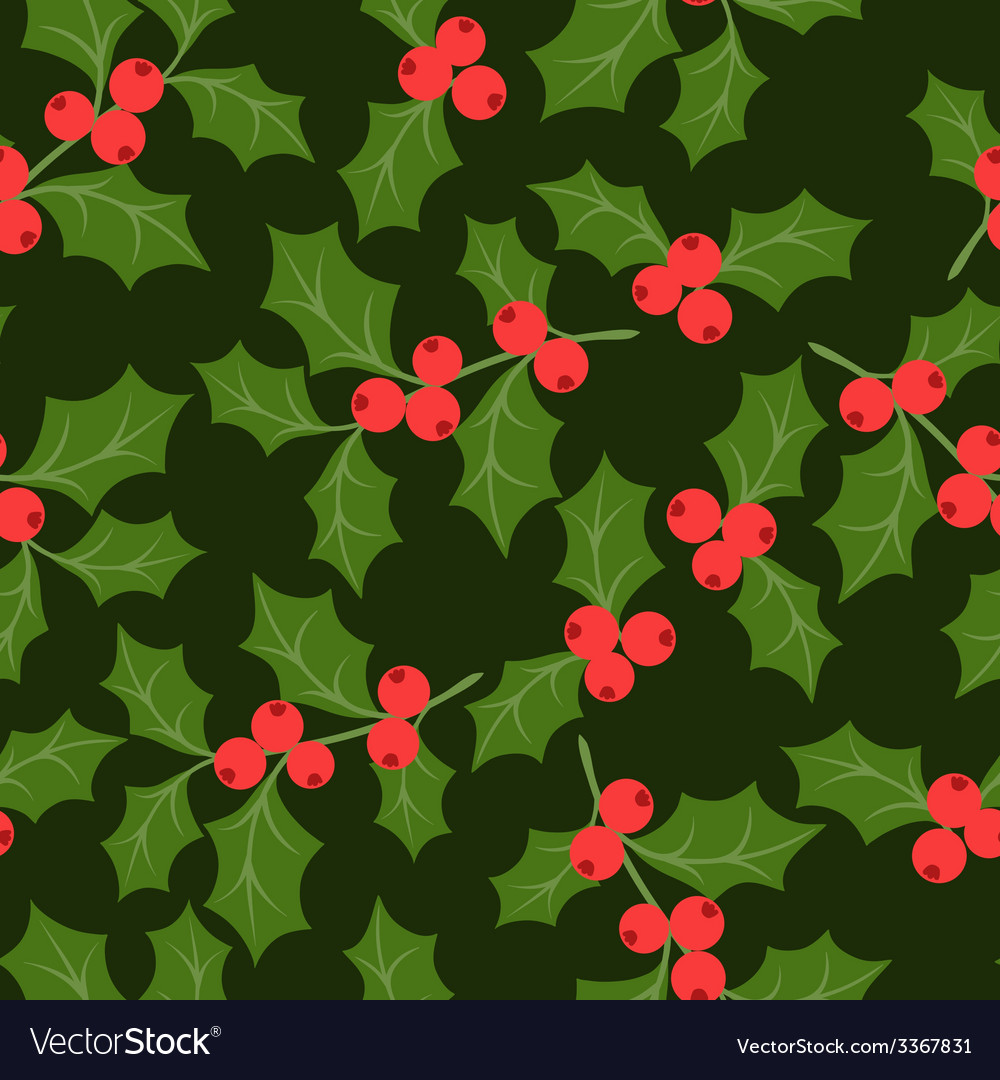 Winter seamless pattern with stylized holly leaves vector | Price: 1 Credit (USD $1)