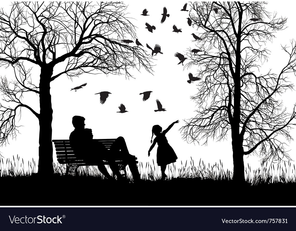 Young family in autumn park vector | Price: 1 Credit (USD $1)