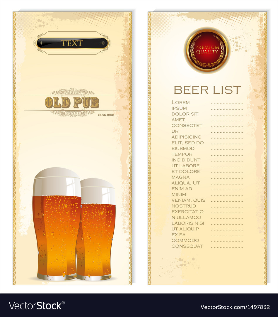 Beer list vector | Price: 3 Credit (USD $3)