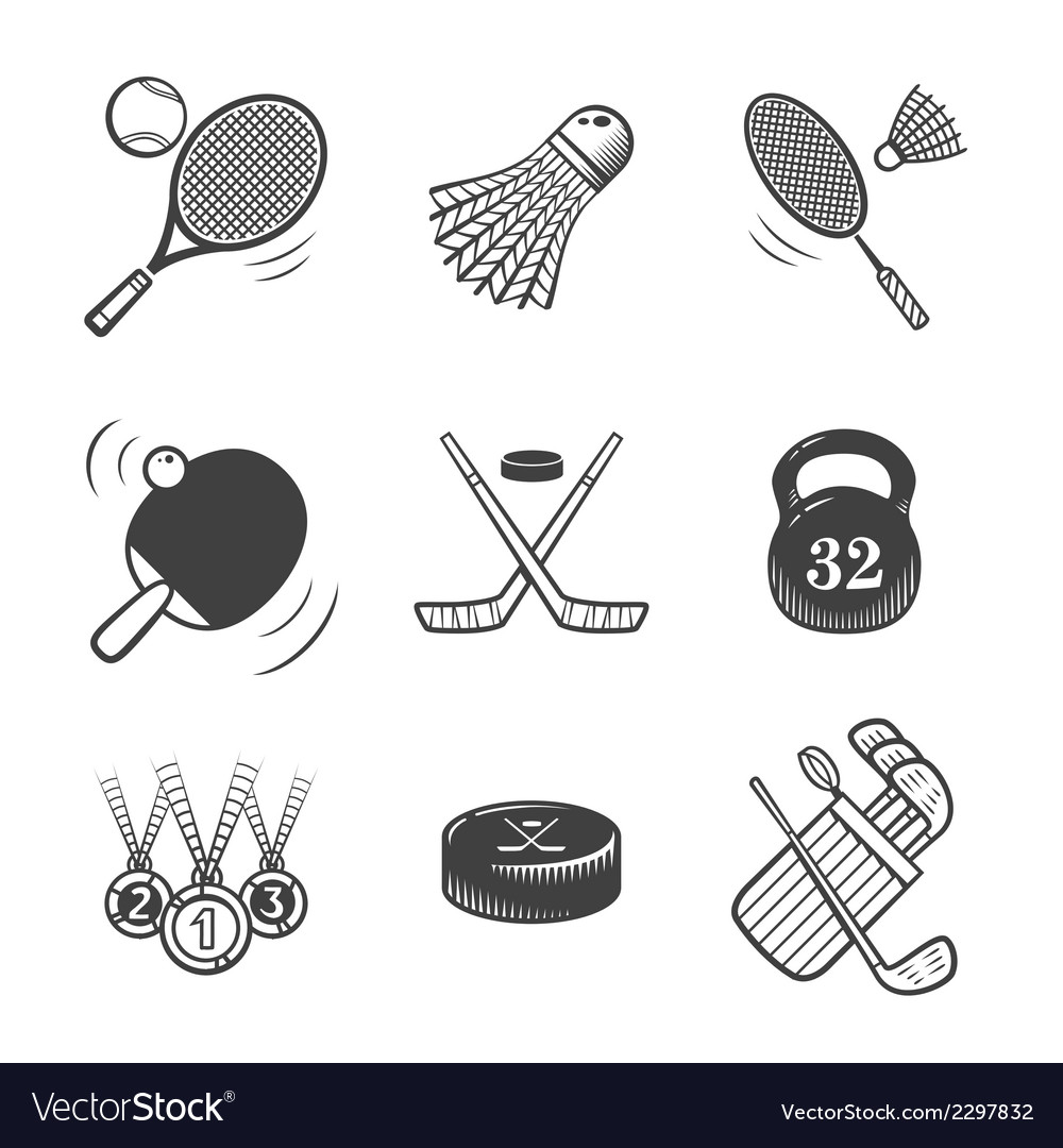 Collection of icons sport equipment vector | Price: 1 Credit (USD $1)