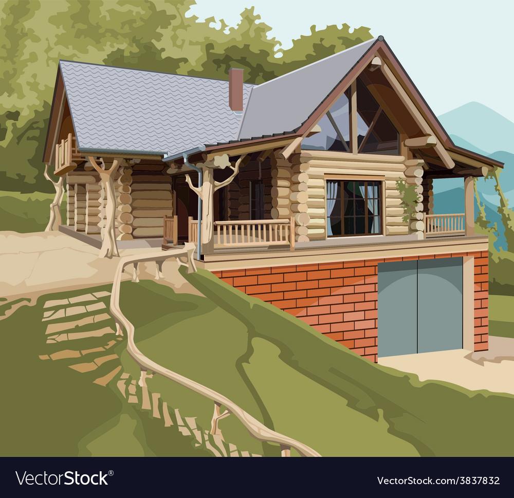 House log modern vector | Price: 3 Credit (USD $3)