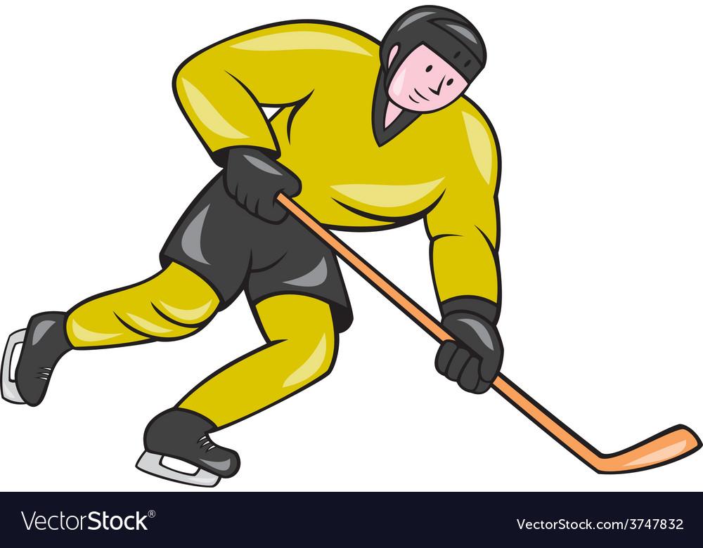 Ice hockey player in action cartoon vector | Price: 1 Credit (USD $1)