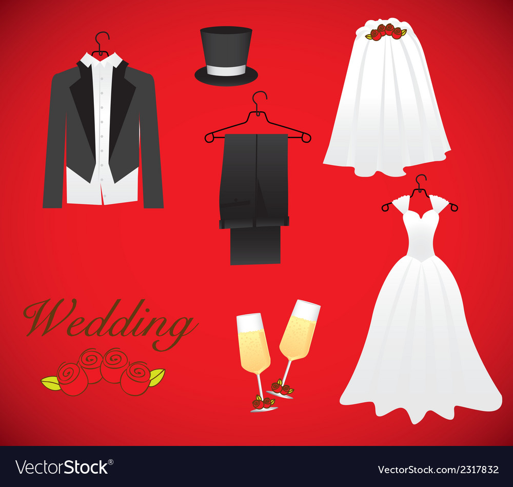 Objects of marriage including wedding dress groom vector   Price: 1 Credit (USD $1)