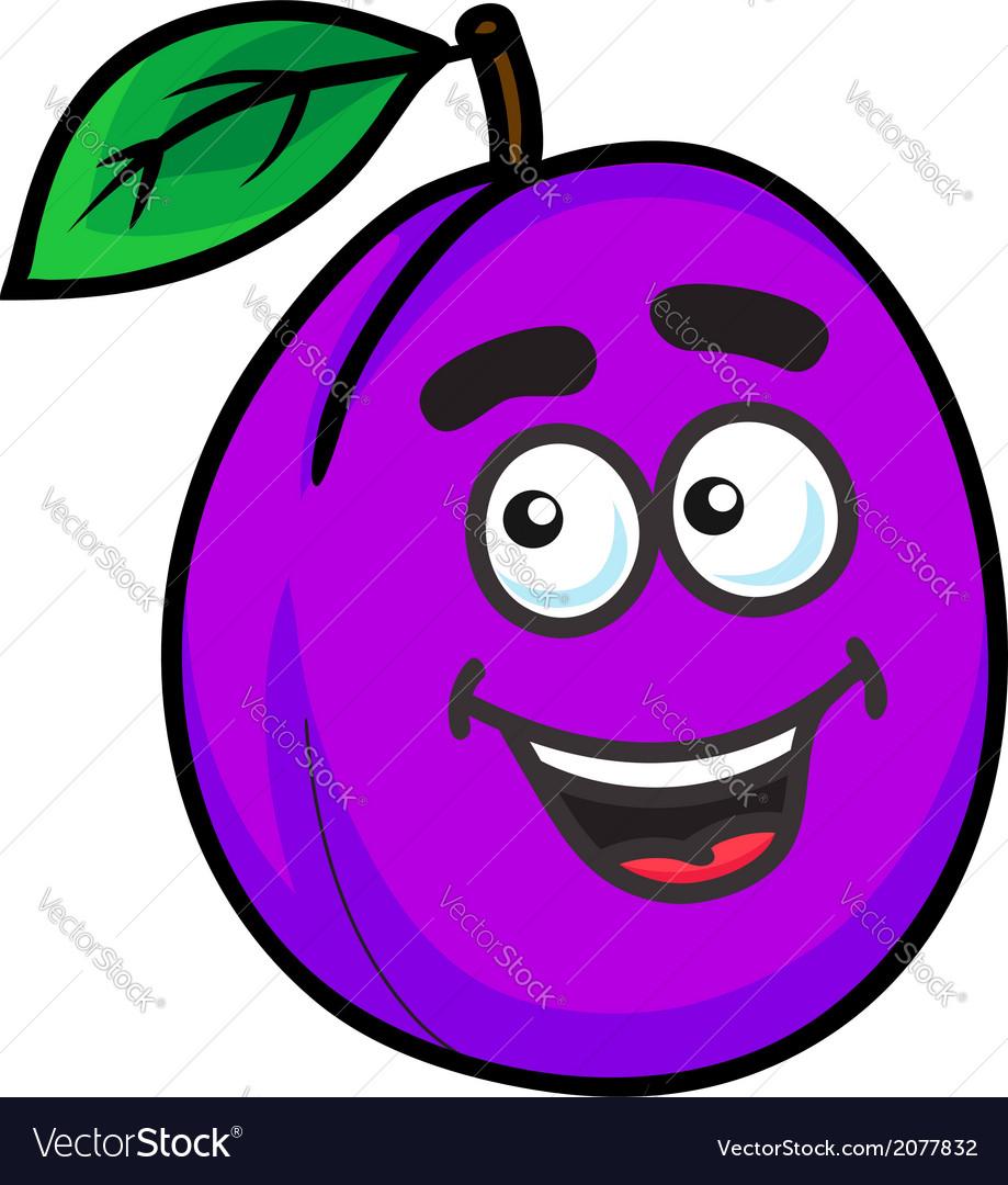 Purple cartoon plum fruit vector | Price: 1 Credit (USD $1)