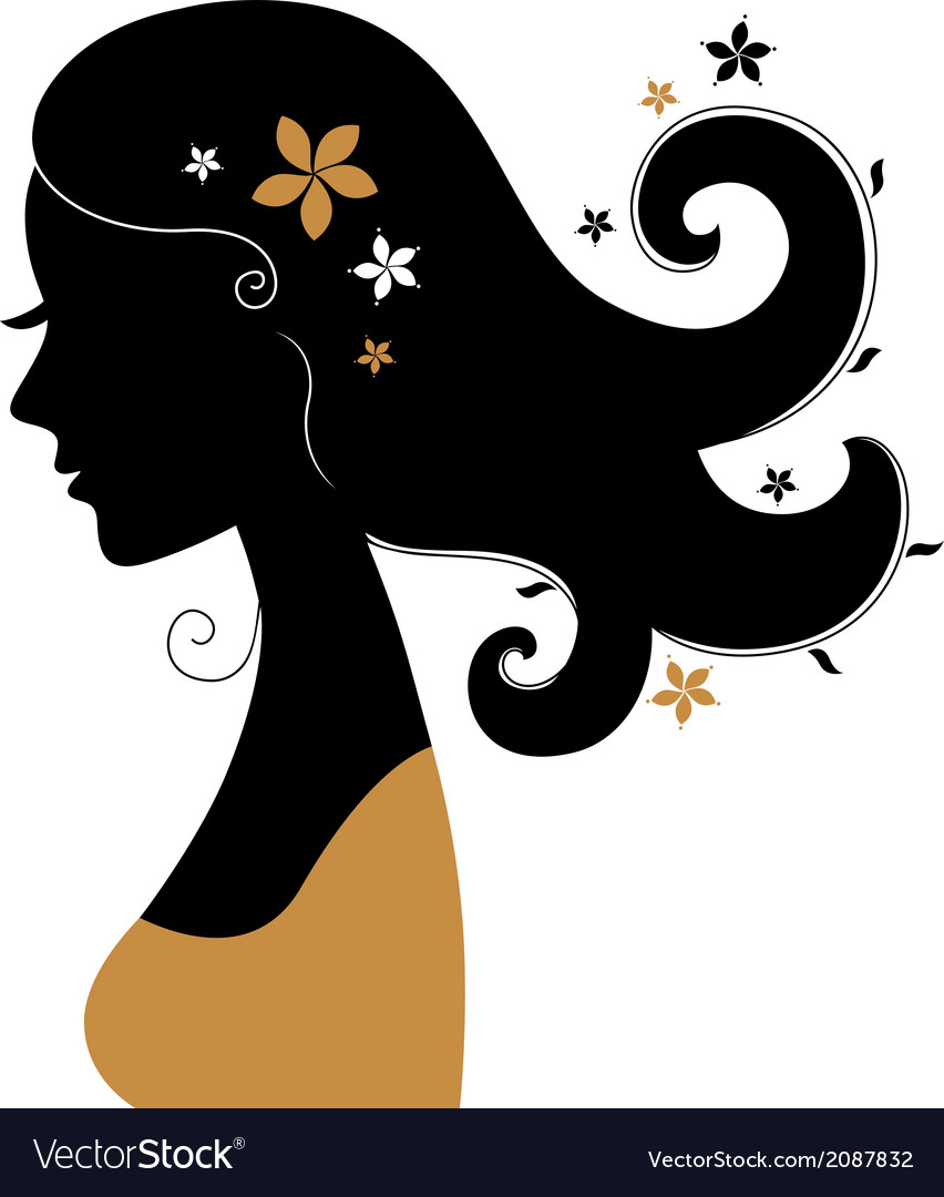 Retro woman silhouette with flowers in hair vector | Price: 1 Credit (USD $1)